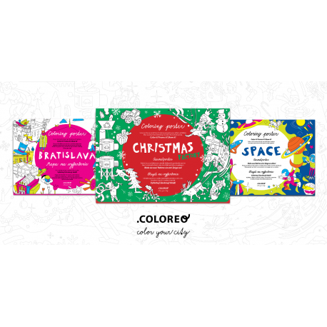 Sada 3 máp Coloreo - omaľovaniek určených na vyfarbenie.